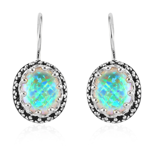 Sajen Silver Cultural Flair Collection - Quartz Doublet  Simulated Opal White Earrings in Rhodium Ov