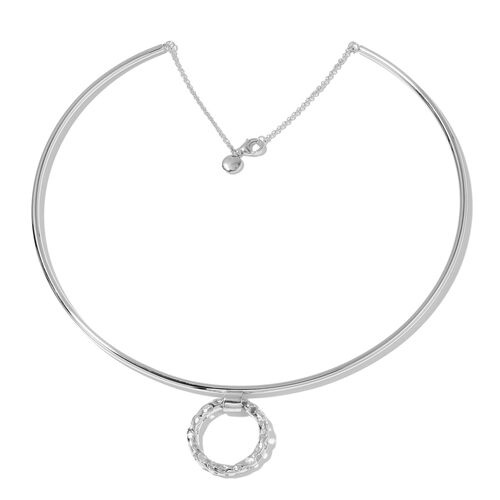 RACHEL GALLEY Rhodium Plated Sterling Silver Lattice Circle Necklace (Size 18), Silver wt 33.44 Gms.