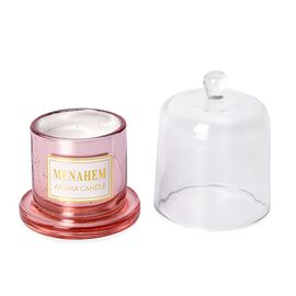 Home Decor - Aroma Candle with Rose Gold Plating Glass Container (Size 12x8 Cm) (Rose and Greenery F