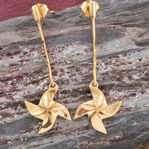 Origami Wind Mill Earrings in 14K Gold Overlay Sterling Silver, Silver wt 4.00 Gms (with Push Back)