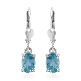 Blue Apatite Solitaire Lever Back Earrings in Sterling Silver 1.05 Ct.