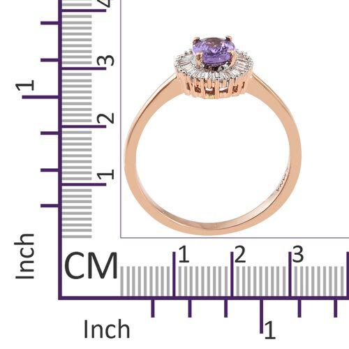 ILIANA 18K Rose Gold UnHeated AAAA Natural Purple Sapphire (Ovl), Diamond (SI/G-H) Ring 1.050 Ct.