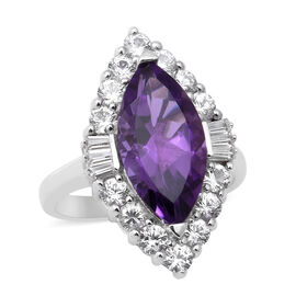 AA Lusaka Amethyst and Natural Cambodian Zircon Halo Ring in Rhodium Overlay Sterling Silver 7.91 Ct