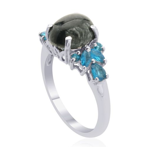 Siberian Seraphinite (Ovl 2.40 Ct), Malgache Neon Apatite Ring in Platinum Overlay Sterling Silver 3.000 Ct.