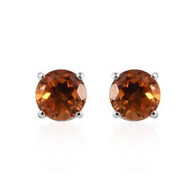 Madeira Citrine (Rnd) Stud Earrings (with Push Back) in Platinum Overlay Sterling Silver 1.500 Ct.