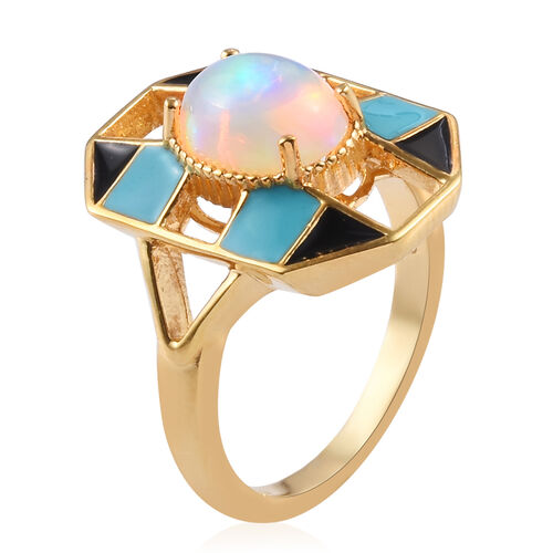 GP Ethiopian Welo Opal (Ov9x7) and Blue Sapphire Enamelled Ring in 14K Gold Overlay Sterling Silver 1.20 Ct.