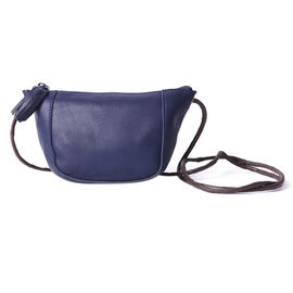 enuine Leather Middle Size Crossbody Bag - Navy