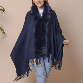 Designer Inspired Faux Fur Trimmed Cape - Navy Blue (One Size)