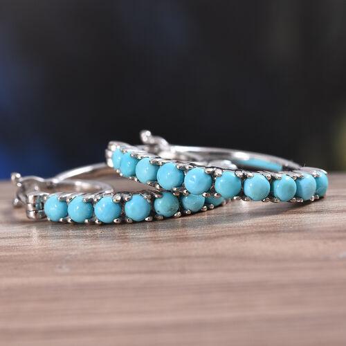 Arizona Sleeping Beauty Turquoise (Rnd) Hoop Earrings (with Clasp Lock) in Platinum Overlay Sterling Silver 1.500 Ct