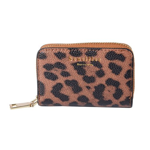 Sencillez - Leopard Print Genuine Leather RFID Wallet with Card Holder and Zipper Closure (Size 11x2