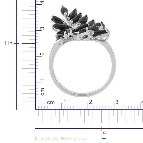 Designer Inspired Boi Ploi Black Spinel (Mrq) Cross Over Leaves Ring in Rhodium Plated Sterling Silver 3.000 Ct. Sterling Silver Wt. 5.00 Gms