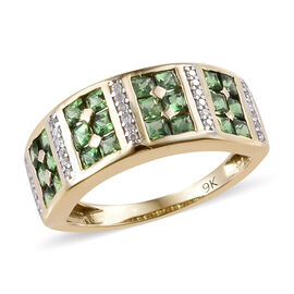 9K Yellow Gold AA Tsavorite Garnet (Princess), Diamond Ring 1.100 Ct.