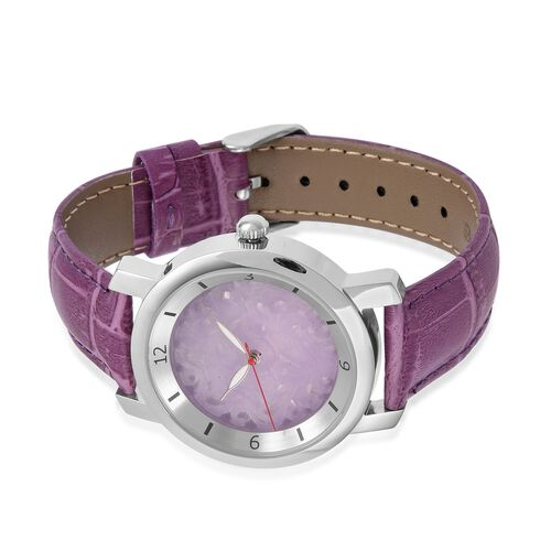EON 1962 Swiss Movement Purple Jade Dial 3ATM Water Resistent Watch with Genuine Leather Strap 25.000 Ct.