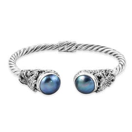 Royal Bali Collection Blue Mabe Pearl (Rnd 14 mm) Twisted Cuff Bangle (Size 7.5) in Sterling Silver,