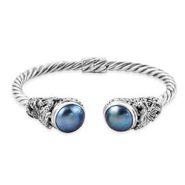 Royal Bali 14 mm Blue Mabe Pearl Twisted Cuff Bangle in Sterling Silver 29 Grams 7.5 Inch