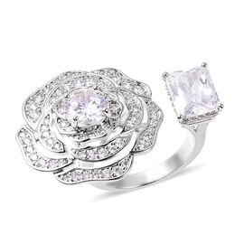 Simulated Diamond (Oct 9x7 mm) Rose Ring (Size O) in Silver Plated