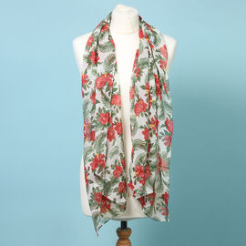 Sugar Crisp Chiffon Floral Printed Scarf (Size 150x50cm) - Red
