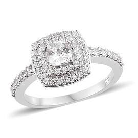 J Francis - Platinum Overlay Sterling Silver (Cush) Ring Made with SWAROVSKI ZIRCONIA