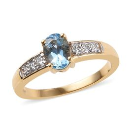 ILIANA 18K Yellow Gold AAA Santa Maria Aquamarine (Ovl 7x5mm), Diamond (SI/G-H) Ring 0.80 Ct.