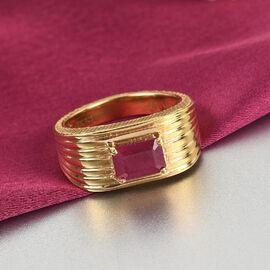 GP Art Deco Collection - African Ruby and Kanchanaburi Blue Sapphire Ring in 14K Gold Overlay Sterling Silver 1.38 Ct.