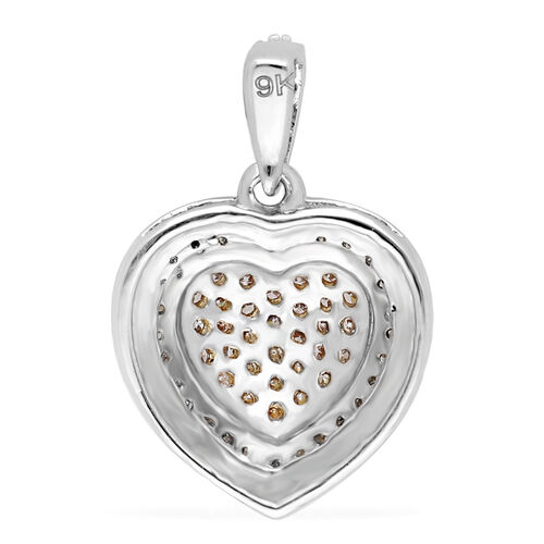 9K White Gold Natural Pink and White Diamond Heart Pendant 0.50 Ct.