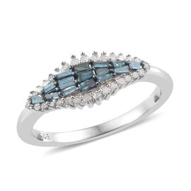 Blue and White Diamond (Rnd) Ring in Platinum Overlay Sterling Silver 0.330 Ct.