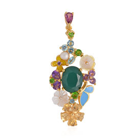 Jardin Collection- Verde Onyx (Ovl 10x8 mm), Yellow Mother of Pearl and Multi Gemstone Pendant in En