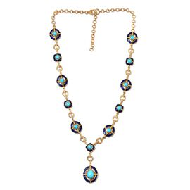 Super Find- Arizona Sleeping Beauty Turquoise Enamelled Necklace (Size 18 with 2 inch Extender) in 1