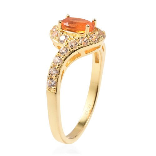 Jalisco Fire Opal and Natural Cambodian Zircon Bypass Ring in Yellow Gold Overlay Sterling Silver 1.75 Ct.