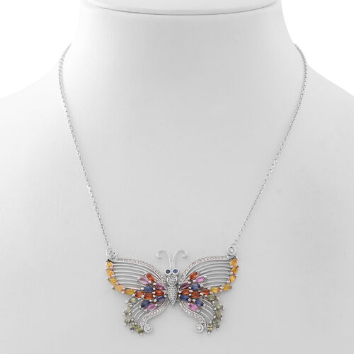 Rainbow Sapphire (Mrq) Butterfly Necklace (Size 18) in Rhodium Plated Sterling Silver 7.310 Ct. Silver wt 17.00 Gms.