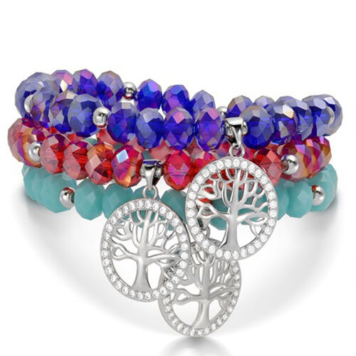 Set of 3 - Red Austrian Crystal, Blue and Light Blue Austrian Crystal Stretchable Bracelet (Size 7) in Silver Tone