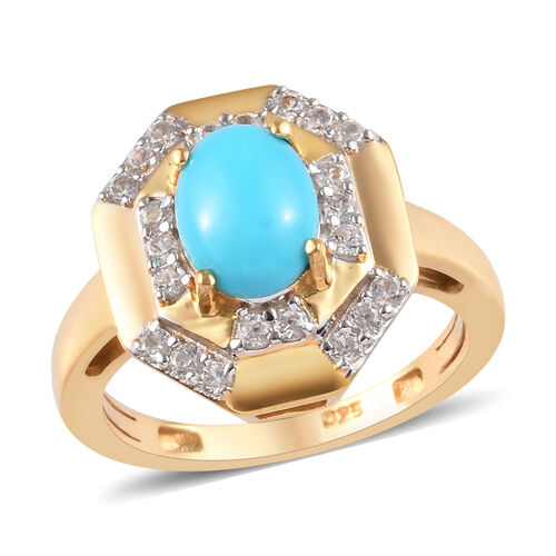 Sleeping Beauty Turquoise and Zircon Halo Ring in Gold Plated Sterling Silver,1.43 Ct