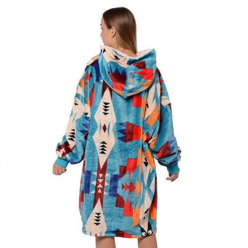 Serenity Night - Santa Fe Collection - Flannel Sherpa Hooded Sweatshirt (Size 85x90cm) - Sky Blue, Cream