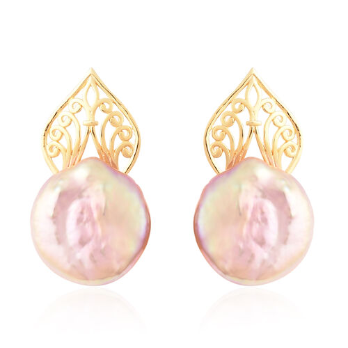 Baroque Pearl Earrings (with Push Back) in Yellow Gold Overlay Sterling Silver