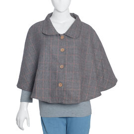 Woolen Brown Check Cape with  Peter Pen Collar and Wooden Buttons - One Size