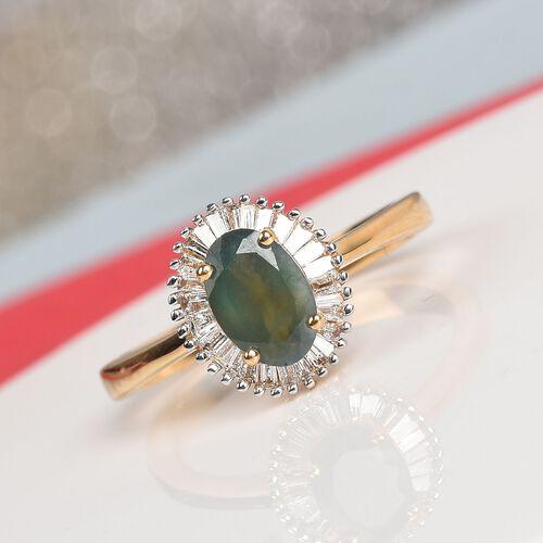 ILIANA 18K Yellow Gold AAA Narsipatnam Alexandrite and Diamond (SI/G-H) Halo Ring 1.10 Ct, Gold wt. 3.43 Gms