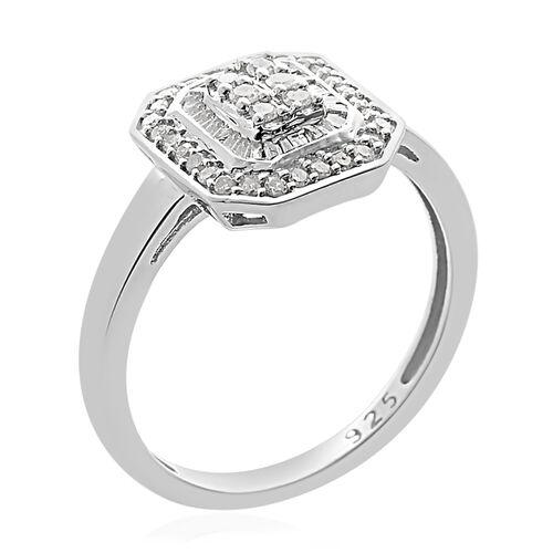 Designer Inspired - Diamond (Rnd and Bgt) Ring in Platinum Overlay Sterling Silver 0.500 Ct.