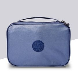 Water Resistant Portable Blue Colour Patterned Toiletry  Bag (Size 22x5x15x5cm) with Wrist Band Hand