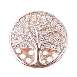 White Austrian Crystal Tree of Life Brooch in Rose Tone