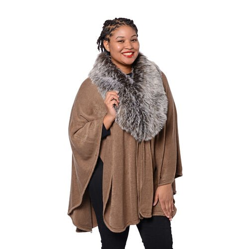 Designer Inspired Cape with Faux Fur Collar (One Size, L: 80cm) Brown
