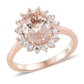 9K Rose Gold AA Moroppino Morganite (Ovl 1.60 Ct), Natural Cambodian Zircon Ring 2.000 Ct.