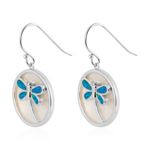 New Concept - Simulated Blue Opal and Mother of Pearl Dragonfly Earrings (with Hook) in Sterling Silver.