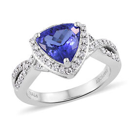 RHAPSODY 2.34 Ct AAAA Tanzanite and Diamond Halo Ring in 950 Platinum 6 Grams