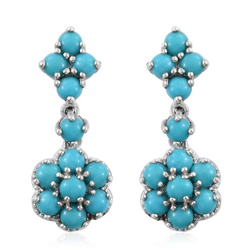 Arizona Sleeping Beauty Turquoise (Rnd) Floral Dangling Earrings (with Push Back) in Platinum Overlay Sterling Silver 3.000 Ct.
