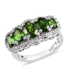 2.75 Ct Russian Diopside and Zircon 5 Stone Design Ring in Platinum Plated Sterling Silver
