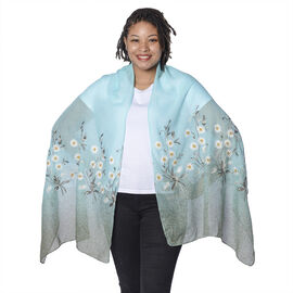 Mint and White Floral Embroidery Scarf with Dark Green Spray Dots (65x180cm)