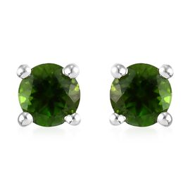 Russian Diopside Stud Earrings (with Push Back) in Sterling Silver