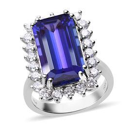 RHAPSODY 950 Platinum AAAA Tanzanite and Diamond (VS/E-F) Ring  13.03 Ct, Platinum wt 12.50 Gms