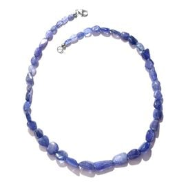 One Time Deal-Tanzanite Necklace (Size 18) with Lobster Lock in Platinum Overlay Sterling Silver 157