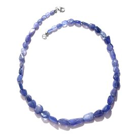 157.50 Ct Tanzanite Beaded Necklace in Platinum Plated Sterling Silver 18 Inch
